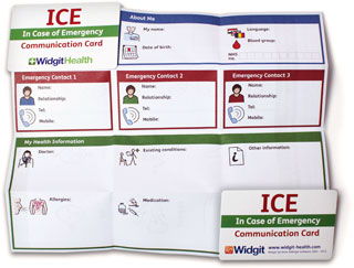 ICE card front