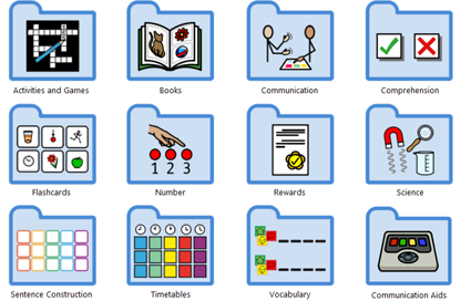 Ready-made templates to create visual supports and support communication.